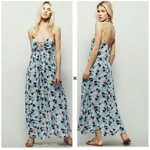 Free People Mulberry Blue Floral Boho Maxi Dress